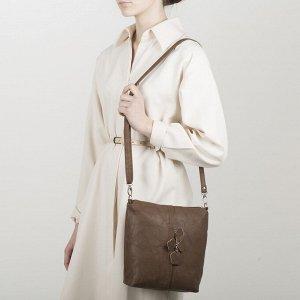 Сумка женская, 2 отдела на молнии, наружный карман, регулируемый ремень, цвет светло-коричневый