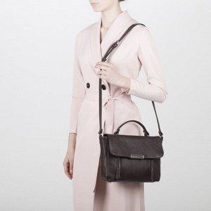 Сумка женская, отдел на клапане, 2 наружных кармана, длинный ремень, цвет коричневый