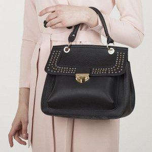 Сумка женская, отдел на клапане, наружный карман, длинный ремень, цвет чёрный
