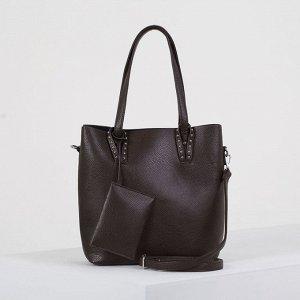 Сумка женская, отдел на молнии, наружный карман, с кошельком, длинный ремень, цвет коричневый