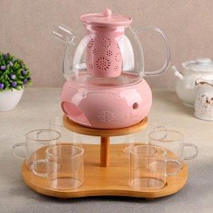 Набор чайный на 6 персон, 9 предмтов «Нежность», чайник 700 мл, кружка 100 мл, цвет розовый