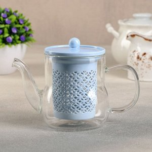 Чайник с керамическим ситом «Нежность», 400 мл, цвет синий