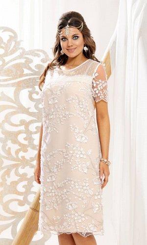 Платье Платье Vittoria Queen 10853 беж + молочный  Состав ткани: ПЭ-100%;  Рост: 164 см.  https://youtu.be/40DK-0iAuhE    Чудесное и нежное! Платье в очень модном силуэте. В таком платье недостатки ф