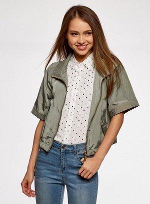 Куртка на молнии с короткими рукавами                    Зеленый