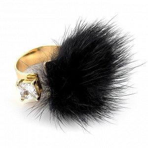 60029710 Незамкнутое кольцо Street Fashion с мехом норки и фианитами. - Бижутерия Selena