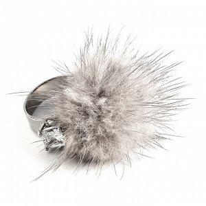 60029720 Незамкнутое кольцо Street Fashion с мехом норки и фианитами. - Бижутерия Selena