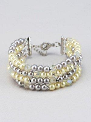 40070810 Браслет Solo авторский браслет выполнен из жемчуга Majorca и хрустального стекла - Бижутерия Selena