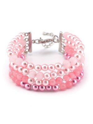 40070820 Браслет Solo авторский браслет выполнен из жемчуга Majorca и розового кварца - Бижутерия Selena
