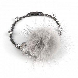 40069240 Тонкий невесомый браслет Street Fashion с мехом норки и кристаллами Preciosa. - Бижутерия Selena