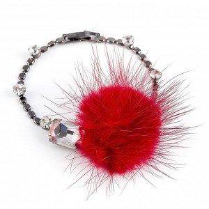 40069260 Тонкий невесомый браслет Street Fashion с мехом норки и кристаллами Preciosa. - Бижутерия Selena