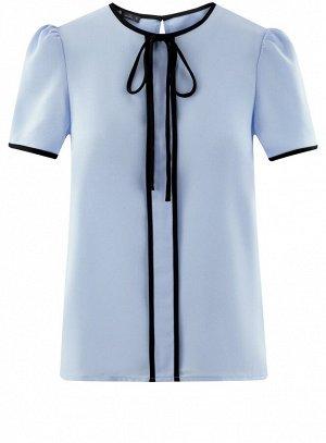 Блузка с коротким рукавом и контрастной отделкой Oodji