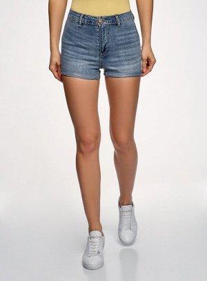 Шорты джинсовые базовые с высокой посадкой                   Синий
