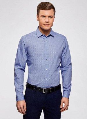 Рубашка приталенная с графичным принтом                   Синий
