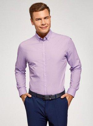 Рубашка принтованная с двойным воротником                   Фиолетовый