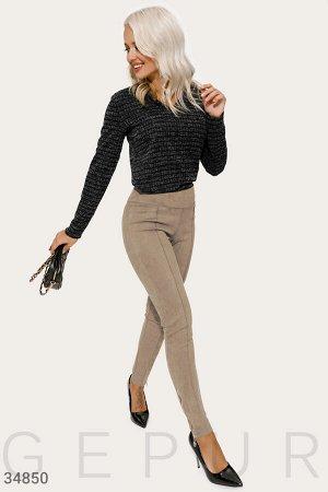 Замшевые бежевые брюки