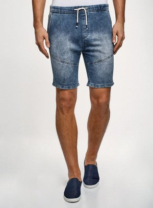 Шорты джинсовые с завязками                    Синий