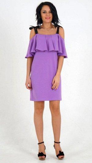 Платье Платье с воланом из трикотажного полотна. Верх платья на лямках-завязках. Без подклада. ДИ в 42-44 р 74 см, в 46-48 р 77 см, в 50-54 р 82 см. Рост модели 164 см., платье 42 размера. Состав хлоп