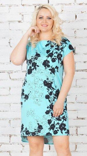 Платье Платье из свободного силуэта из эластичного трикотажного полотна. Круглый вырез горловины. Короткие цельнокроеные рукава, длинна плеча 48-50 р 19 см, 52-54 р 20 см, 56-58 р 23 см, 60 р 24 см, 6