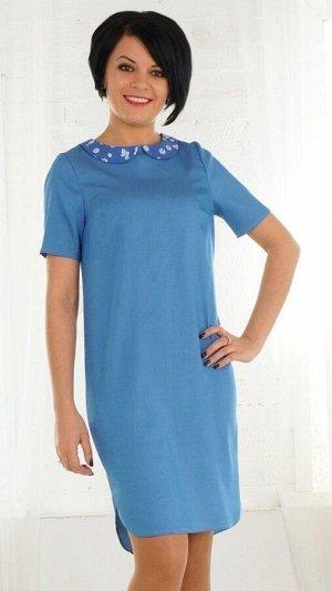 Платье Платье из джинсовой ткани. Круглый вырез горловины. Ворот декорирован воротничком. Рукав короткий втачной длинна 23 см. Без подклада. Застёжка потайная молния по спинке. ДИ в 42-44 р 96 см., в