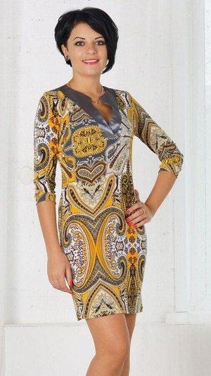 Платье Платье из трикотажного полотна. V-образный вырез горловины исполнен из атласа. Рукав 3/4. Без подклада. Без застёжек. ДИ 88 см. Рост модели 164 см., платье 42 размера. Состав полиэстер 100%. Ма