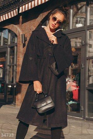 Удлиненное черное пальто