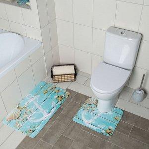 Набор ковриков для ванны и туалета Доляна «Якорь», 2 шт: 40?45, 45?75 см