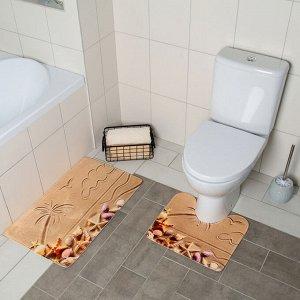 Набор ковриков для ванны и туалета Доляна «Пляж», 2 шт: 40?45, 45?75 см