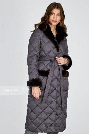 Женское текстильное пальто на натуральном пуху с отделкой мехом кролика с текстильным поясом