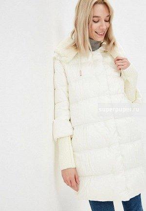 Женское текстильное пальто на искусственном пуху с отделкой из трикотажа и мехом кролика