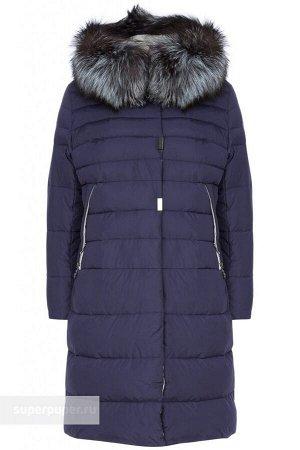 Женское текстильное пальто на искусственном пуху С ОТДЕЛКОЙ МЕХОМ ЧЕРНОБУРОЙ ЛИСЫ