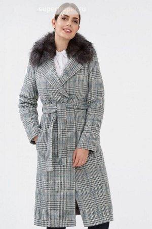 Женское пальто текстильное на синтепоне с текстильным поясом с отделкой мехом песца
