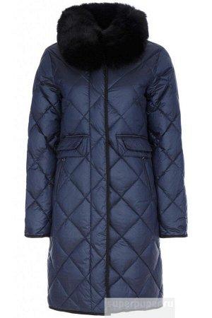 Женское пальто текстильное на натуральном пуху с отделкой мехом песца