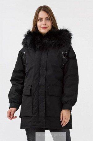 Женское текстильное пальто на натуральном пуху с отделкой мехом енота