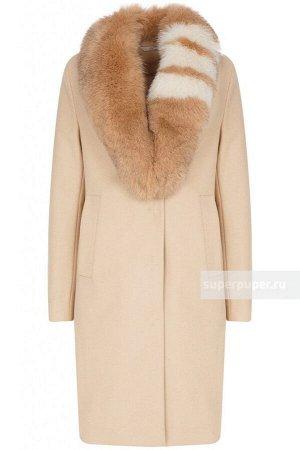Женское текстильное пальто на изософте с отделкой мехом песца