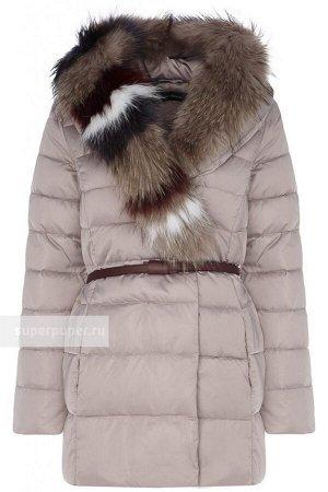 Женская текстильня куртка на натуральном пуху с ремнём из искусственной кожи И с отделкой мехом енота