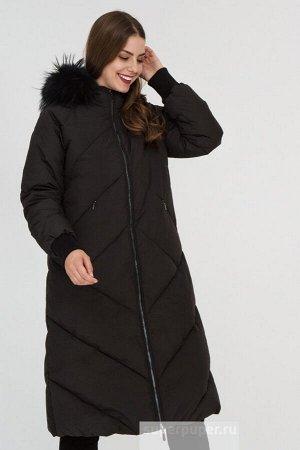 Женское текстильное пальто на натуральном пуху с отделкой трикотажем и мехом енота