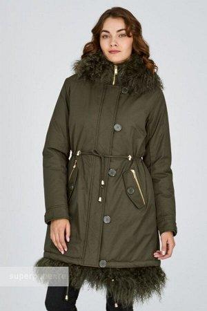 Женское пальто текстильное на натуральном пуху с отделкой мехом ламы