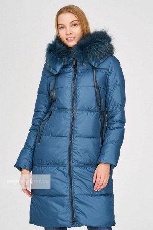 Стеганая куртка с отделкой мехом енота