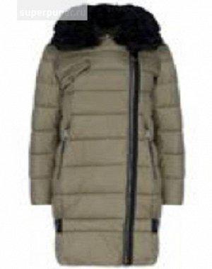 Женское текстильное пальто на искусственном пуху с отделкой из трикотажа И МЕХОМ КАРАКУЛЯ