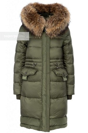 Женское текстильное пальто на искусственном пуху с отделкой из трикотажа и мехом енота