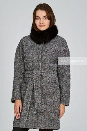 Женское пальто текстильное с текстильным поясом с отделкой мехом песца
