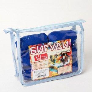 Бигуди ночные «Локон», d = 4 см, 7,5 см, 6 шт, в косметичке, цвет синий