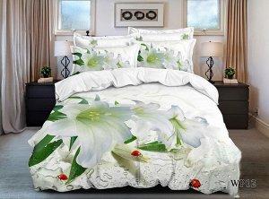 Постельное белье - Сатин Белая лилия 2-спальный с Евро простыней (молния)