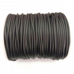 Шнур резиновый полый, 2мм, черный, матовый, 1 метр