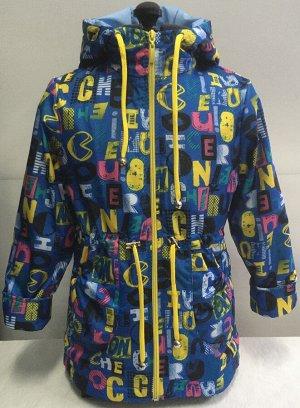 Ветровка Ткань верха: плащ. ткань Подкладка: флис 100% п/э Отделка: капюшон со стойкой, кулиска на талии, сзади удлиненная Рост: 110,116,122 Цвет: голубой+желтый,голубой+розовый