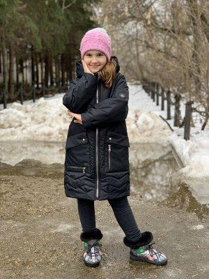 Пальто демисезонное для девочек (Ткань верха Мембраннная ,подкладка х/б+100п/э,утеплитель Сиберия 200, по л/талии кулиска, внутр