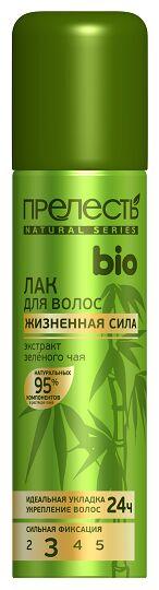Лак д/волос ПРЕЛЕСТЬ БИО 3 Жизненная сила Зеленый чай 160см3