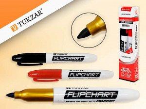 Набор маркеров для флипчарта 2шт, КРАСНЫЙ+ЧЕРНЫЙ, пулевидный наконечник, 2,5 мм, Производство Россия.