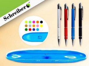 Пластиковый футляр с прозрачной крышкой, 17х4,5см, цвет МИКС + ручка