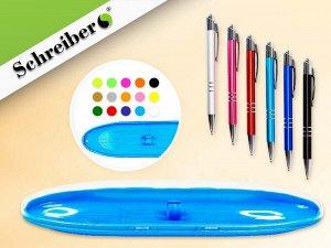 Пластиковый футляр с прозрачной крышкой, 17х4,5см, цвет МИКС + авторучка 0,7мм